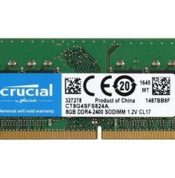 Оперативна пам'ять SODIMM Crucial 8GB 2400 DDR4