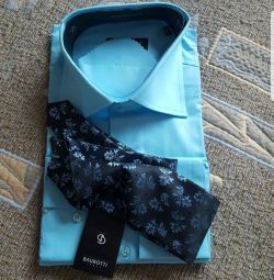 Men's shirt with a tie and a scarf. Italy.