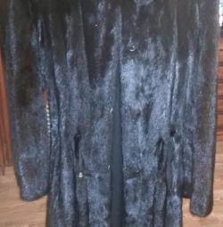 Palton de nurcă neagră cu glugă