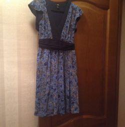 Нежное платье голубой мак h&m