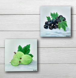 Diptych still life Currant Gooseberry