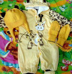 Salopetă girafă galbenă