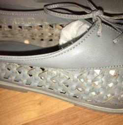 Δερμάτινα υφασμένα πάνινα παπούτσια μεγέθους 39