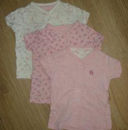 Raspashonki / shirts on mothercare buttons, 3 pcs.