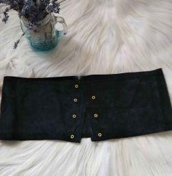 Genuine wide black suede belt