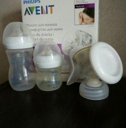 Avent Breast Pump + Bottles