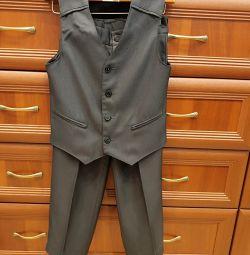 Шкільна форма, костюм, брюки, жилетка, жилет