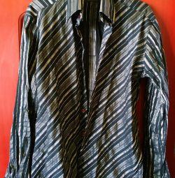 Рубашка черная с серебрян. полосами дизайнерская
