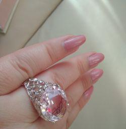 Ring silver 925 pink quartz