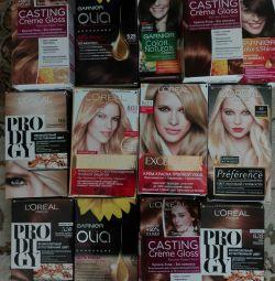 Hair dye, lipstick gloss,