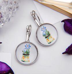 Cercei din sticlă cu bomboane, flori într-o oală, colorate