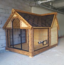 Dog house with a canopy a warm doghouse
