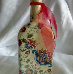 Sticlă de cadou decoupage