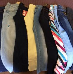 Jeans, pants for women and children.