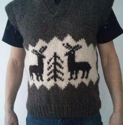 Vestă din piele de oaie tricotată