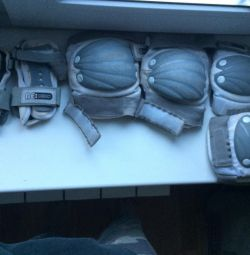 Knee pads, elbow pads, hand protection.