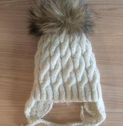 Pălărie caldă cu pompon natur, cască