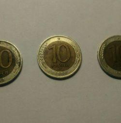 50 rubles 1992.10 rubles 1991