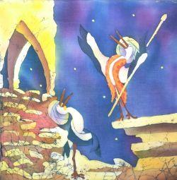 Картина Птичка певчая, 50*50 батик
