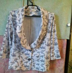Λευκό σακάκι με μοτίβο φύλλων
