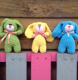 Knitted plush hares