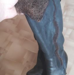 Winter boots, genuine leather, fur