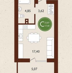 Apartment, free layout, 25 m²