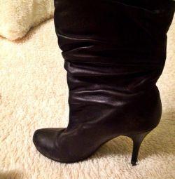 Γόβες μπότες γνήσιο δέρμα
