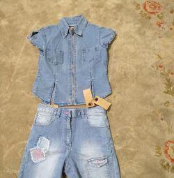 Джинсовий комплект (шорти і сорочка) р.146-152