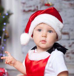 Шапка Деда мороза атласная и хлопок