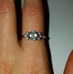 Ring with topaz. 585 gold sample