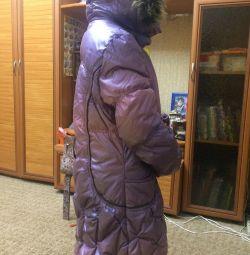 Зимний пуховик на девочку 8-10 лет на рост 158