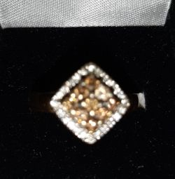 Gold ring 750, with a finite and white diamond