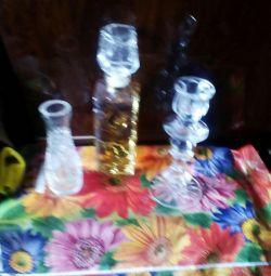 Хрустальный набор! Духи,ваза,подсвечник!