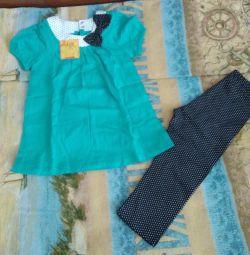 Set (tunică și pantaloni scurți) pentru noua fată