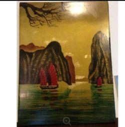 Yazı tahtası üzerinde vintage resimler