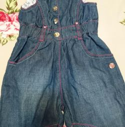 The overalls, children's, jeans, new