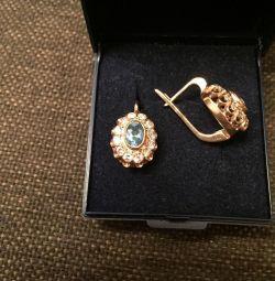 Серьги бриллианты и топаз