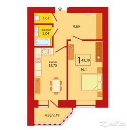 Квартира, 1 кімната, 43.6 м²