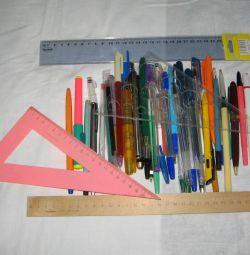 Ручки и линейки