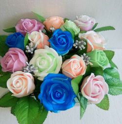 Bouquet of roses from handmade soap