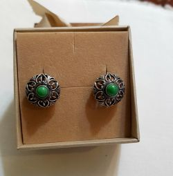 Earrings with turquoise. Soviet silver 925 test