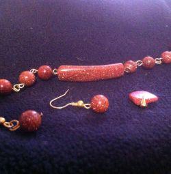 Aventurine bracelet, earrings and pendant