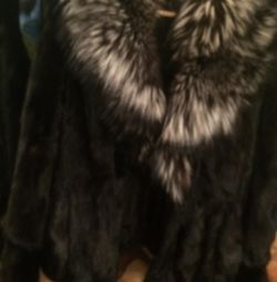 Autolady chic mink coat with a fox collar