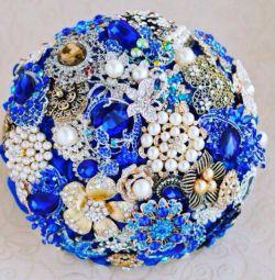 Albastru 💐 buchet de panglici și broșe