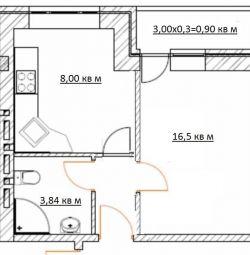Daire, açık plan, 29 m²