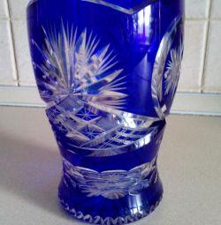 Çekoslovakya Vazo Renkli Kristal Oyma