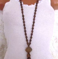 Wooden beads with pendant (handmade)