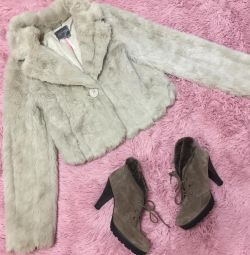 Fur coat shortened wedding auto