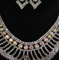 Necklace and earrings with rhinestones